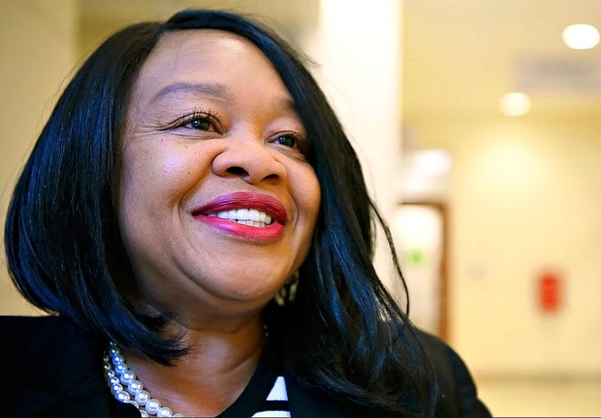 Sandra Harrison, who is running for the Prothonotary office in the next election, talks about how she has been inspired by Mattie Chapman during a dedication ceremony honoring Chapman who was the first elected African-American to hold a York County office as Prothonotary in 1975, at the York County Judicial Center in York City, Tuesday, Feb. 26, 2019. Dawn J. Sagert photo