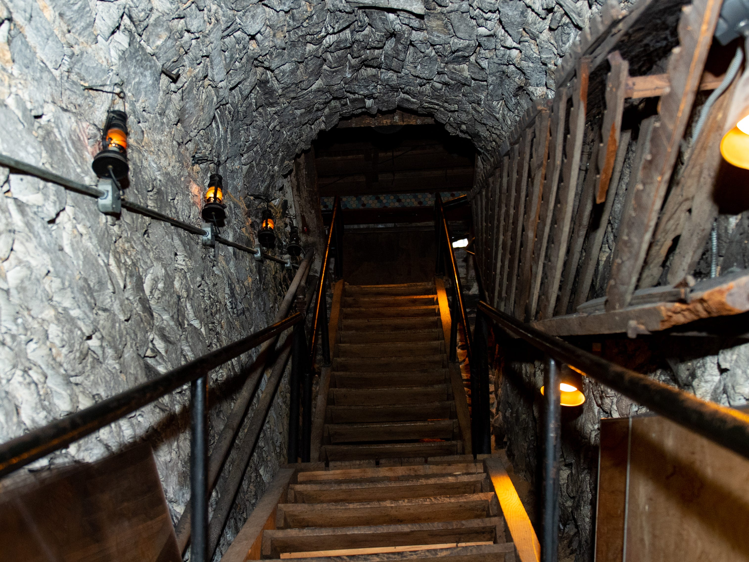 A long wooden stairway leads out of the Catacombs at Bube's Brewery, February 22, 2019.
