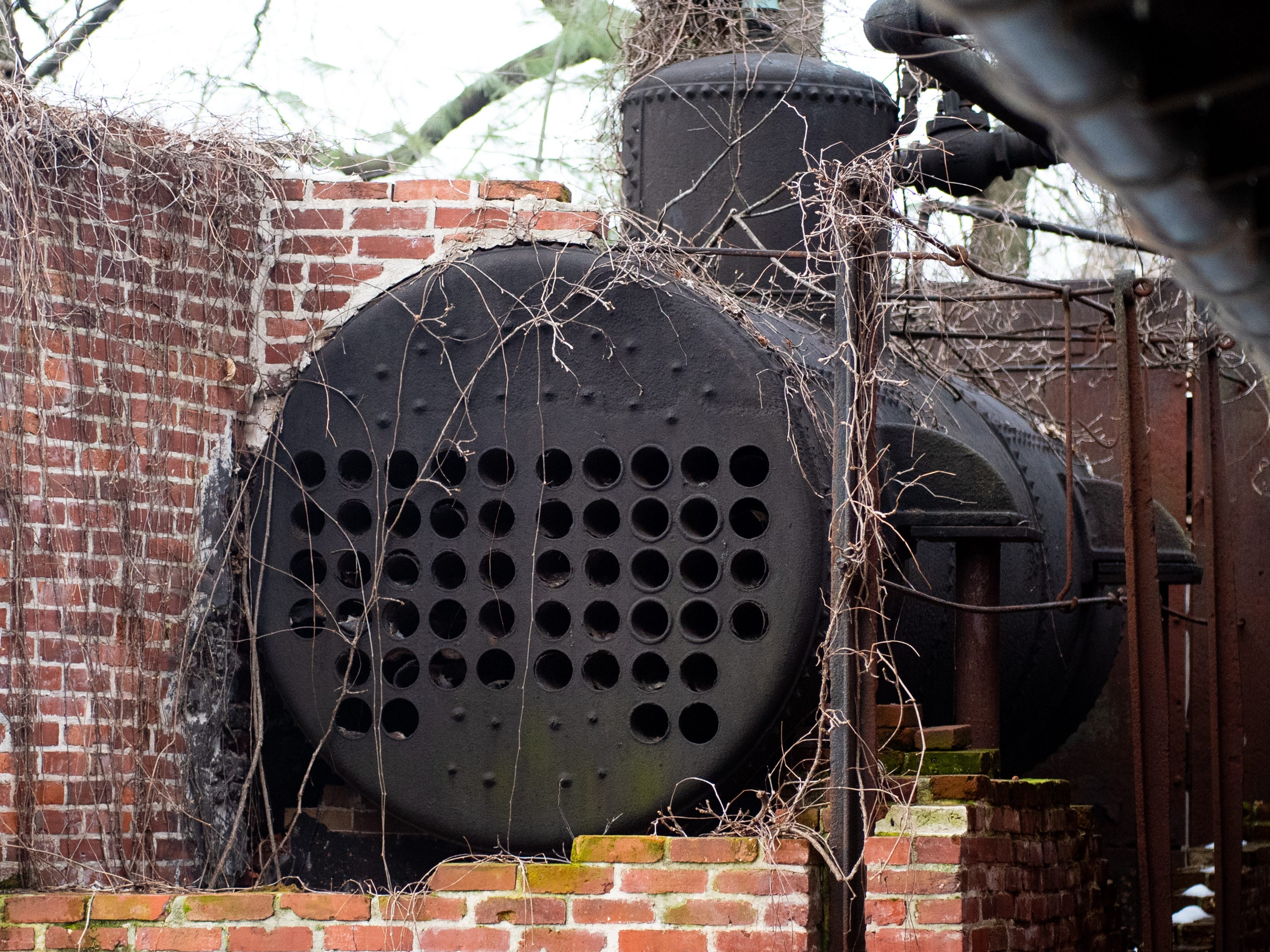 An old train engine sits in the Biergarten at Bube's Brewery, February 22, 2019.