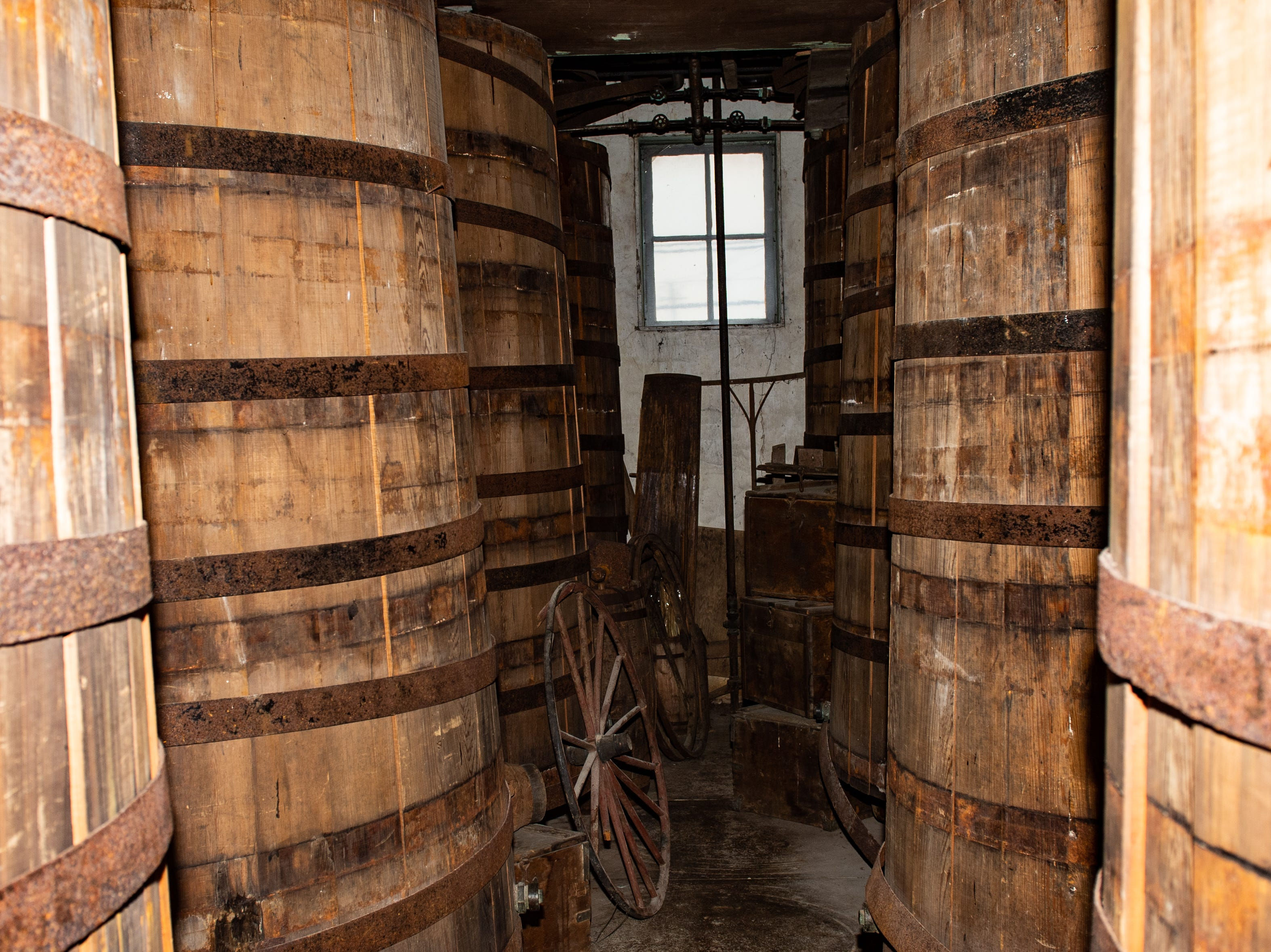 The fermenting room on the second floor of Bube's Brewery. During the 19th century this room was used as the first step in the brewing process. Directly below the fermenting room was the conditioning room. The beer would be transferred from one barrel to the next via gravity, where the beer would then sit until it reached peek flavor. From there it would be moved to the cellar, now the catacombs, for storage. Each barrel would hold approximately 1,800 gallons of beer, February 22, 2019.