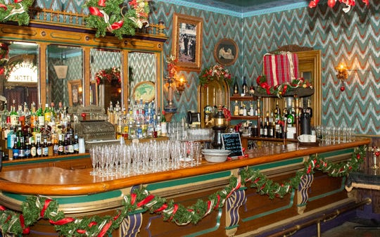 Inside Alois barroom at the Victorian hotel at Bube's Brewery. Alois is used primarily as a bar and banquet space for private parties, weddings or the murder mystery dinners, February 22, 2019.