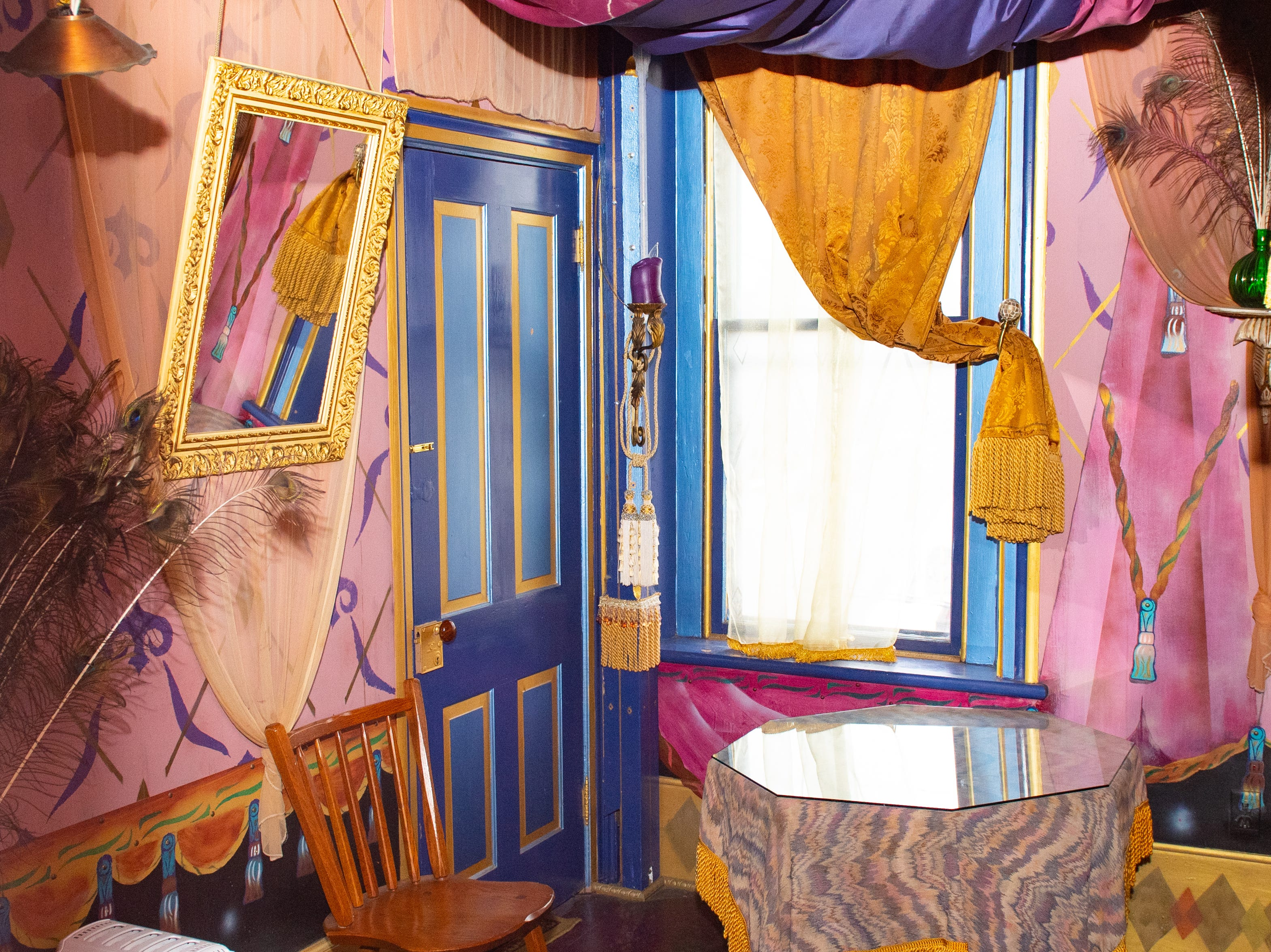 """Inside the colorful """"Southwestern"""" at the Victorian hotel portion of Bube's Brewery. The hotel has 8 uniquely themed rooms and a grand suite. Rooms can be reserved for $100/night, the suite for $200/night, February 22, 2019."""