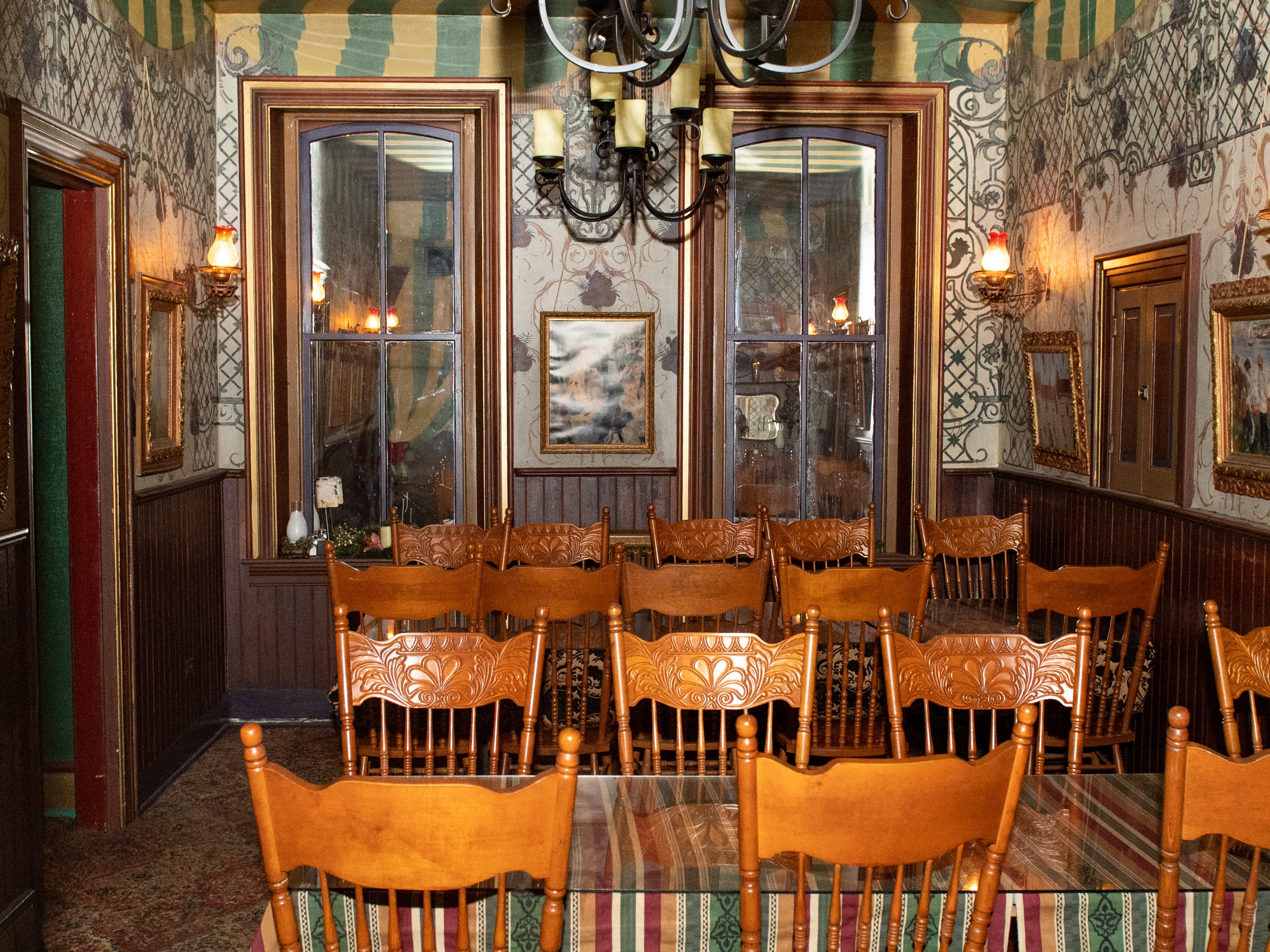 Inside Alois dining room on the second floor of the  Victorian hotel at Bube's Brewery. Alois is used primarily as a bar and banquet space for private parties, weddings or the murder mystery dinners, February 22, 2019.