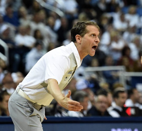 Nevada's heach coach Eric Musselman reacts to a call during Saturday's game against Fresno State at Lawlor Events Center.