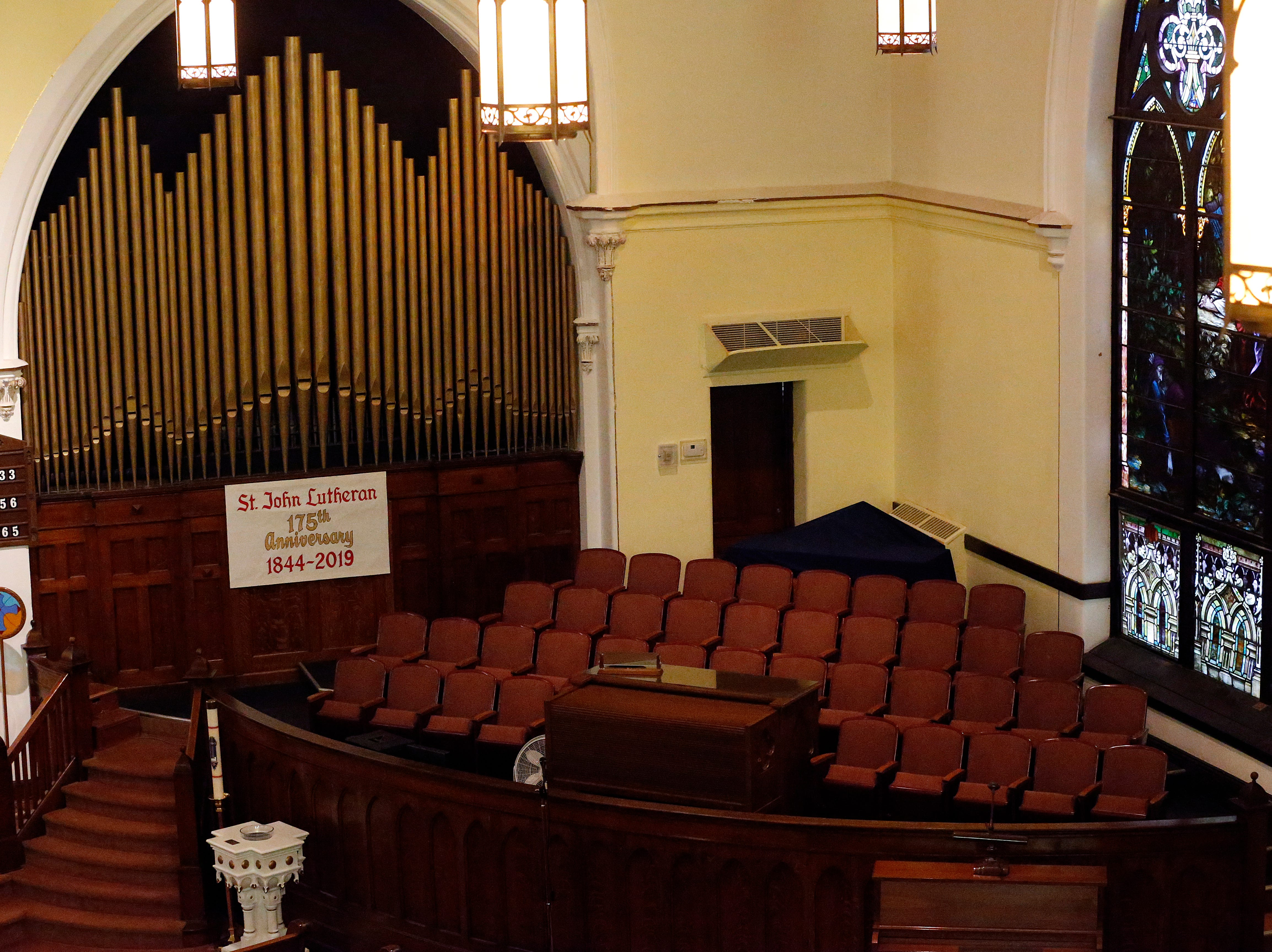 The choir area and organ for St. John Lutheran Church at the corner of South Seventh and E streets in Richmond.