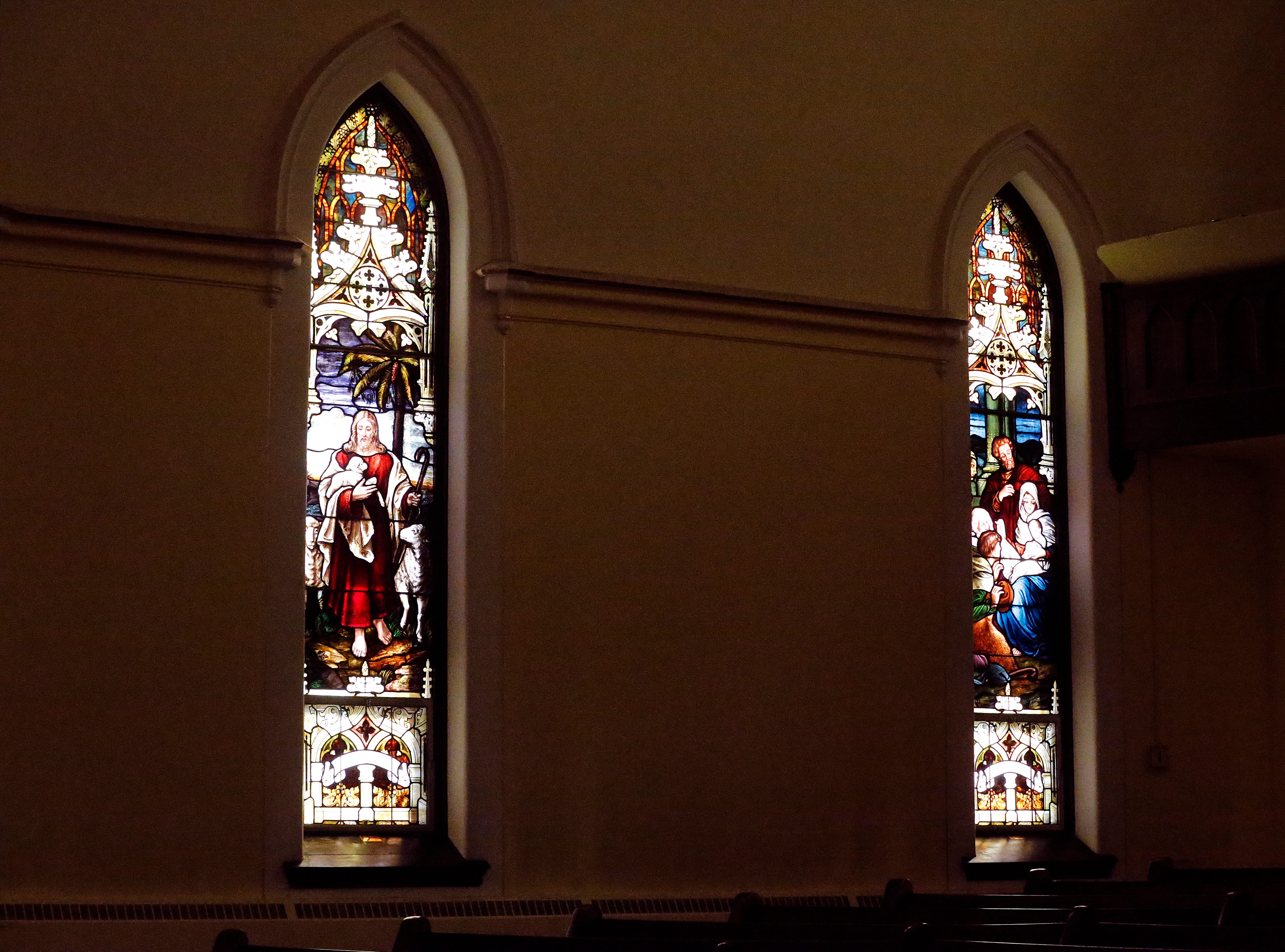 Stained-glass windows inside St. John Lutheran Church at the corner of South Seventh and E streets in Richmond.