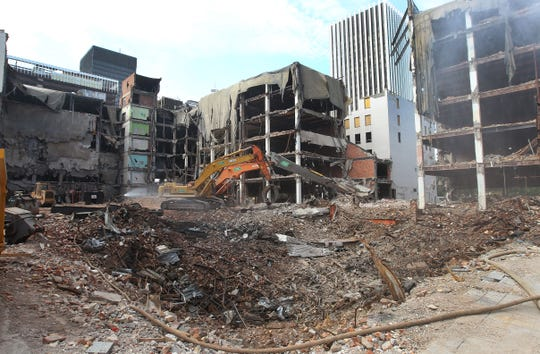 From July 2011: Midtown Plaza demolition is underway.