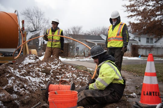 Greenlight Networks, Rochester's young high-speed fiber optic internet provider, began installation in Greece in February 2019. Several workers dug through cold, muddy ground along Dorsetwood Drive on Tuesday, Feb. 26, 2019, to find current underground utilities.