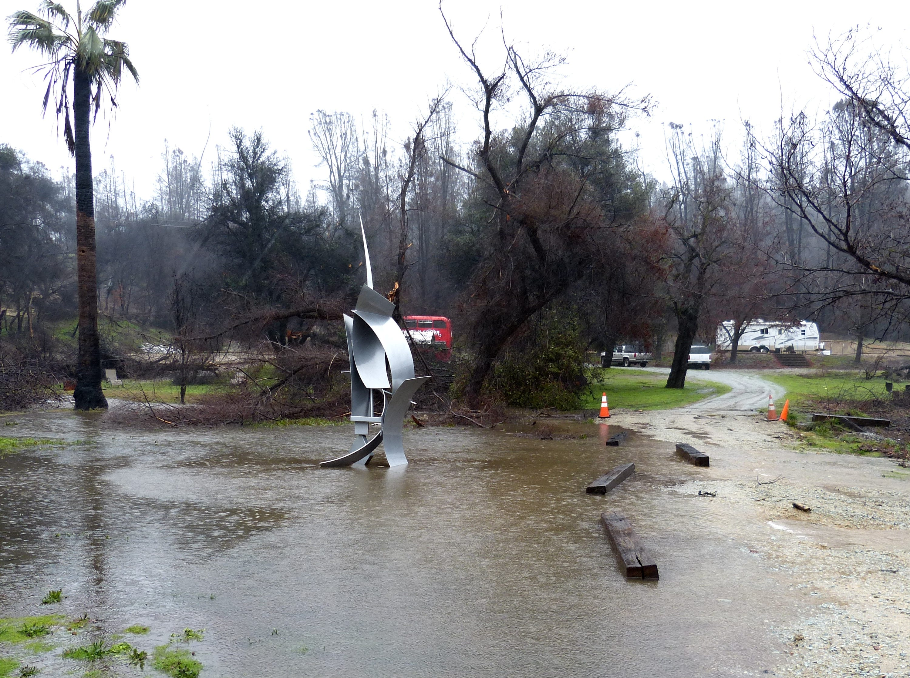 Rain flooded an area in the town of Shasta on Tuesday.
