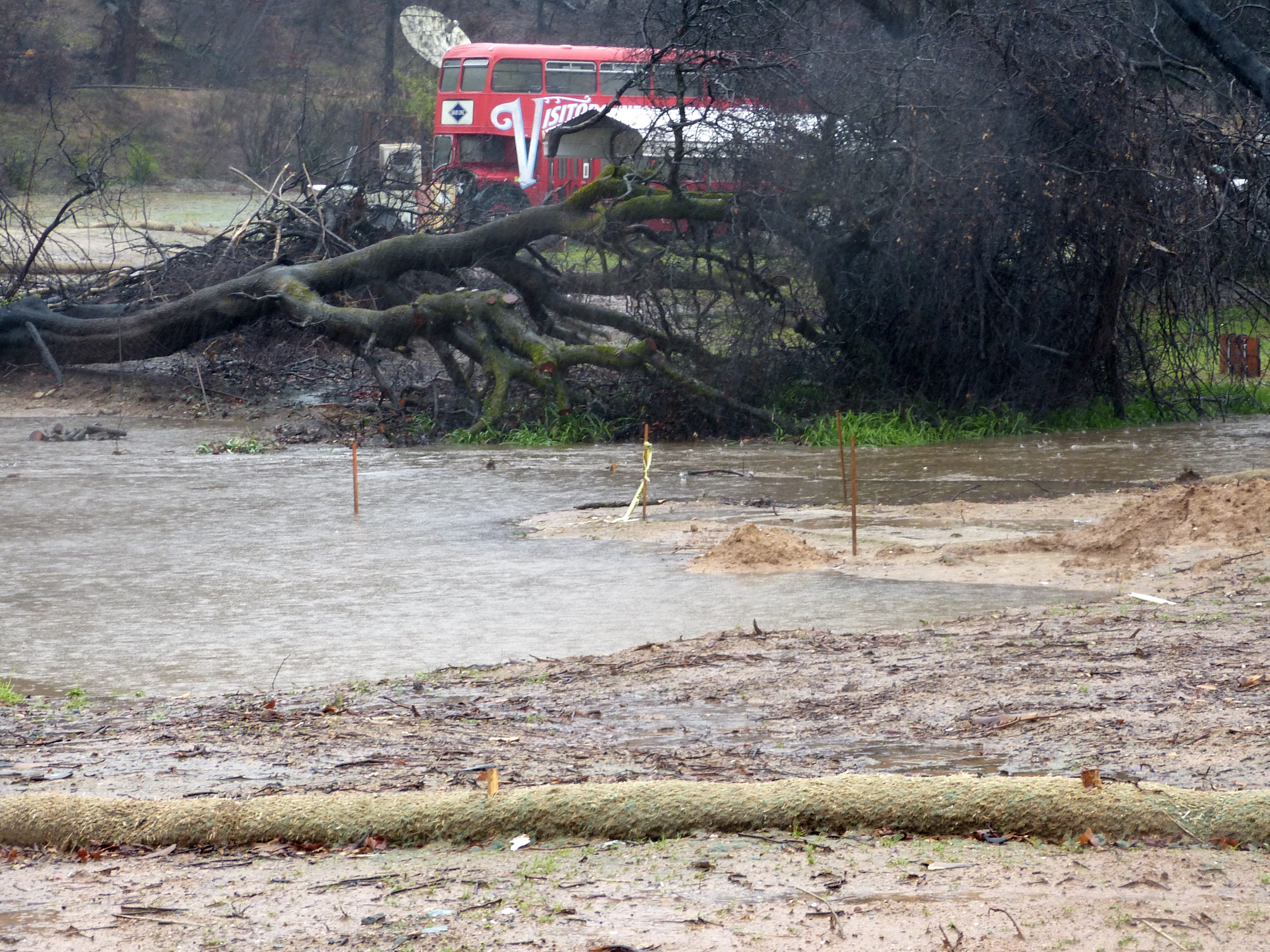 A creek flooded its banks Tuesday in the town of Shasta.
