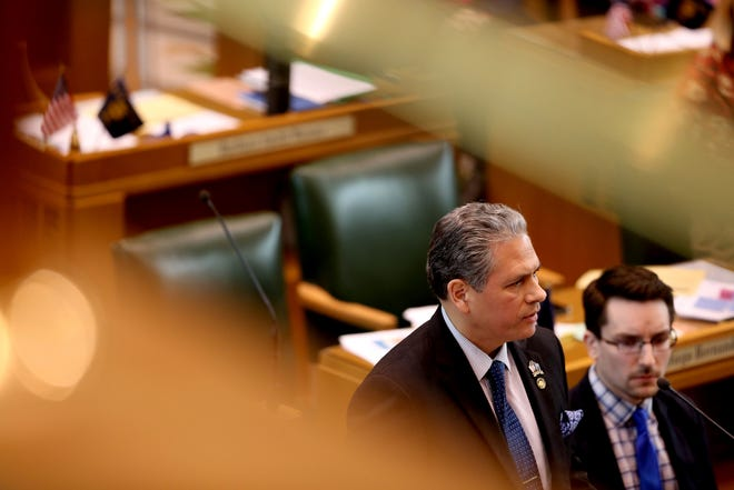 Rep. Mark Meek, D-Clackamas County, speaks as the House of Representatives prepares to vote on Senate Bill 608 at the Oregon State Capitol in Salem on Tuesday, Feb. 26, 2019. The House approved the rent control bill to end no-cause evictions for many tenants and cap rent increases across the state.