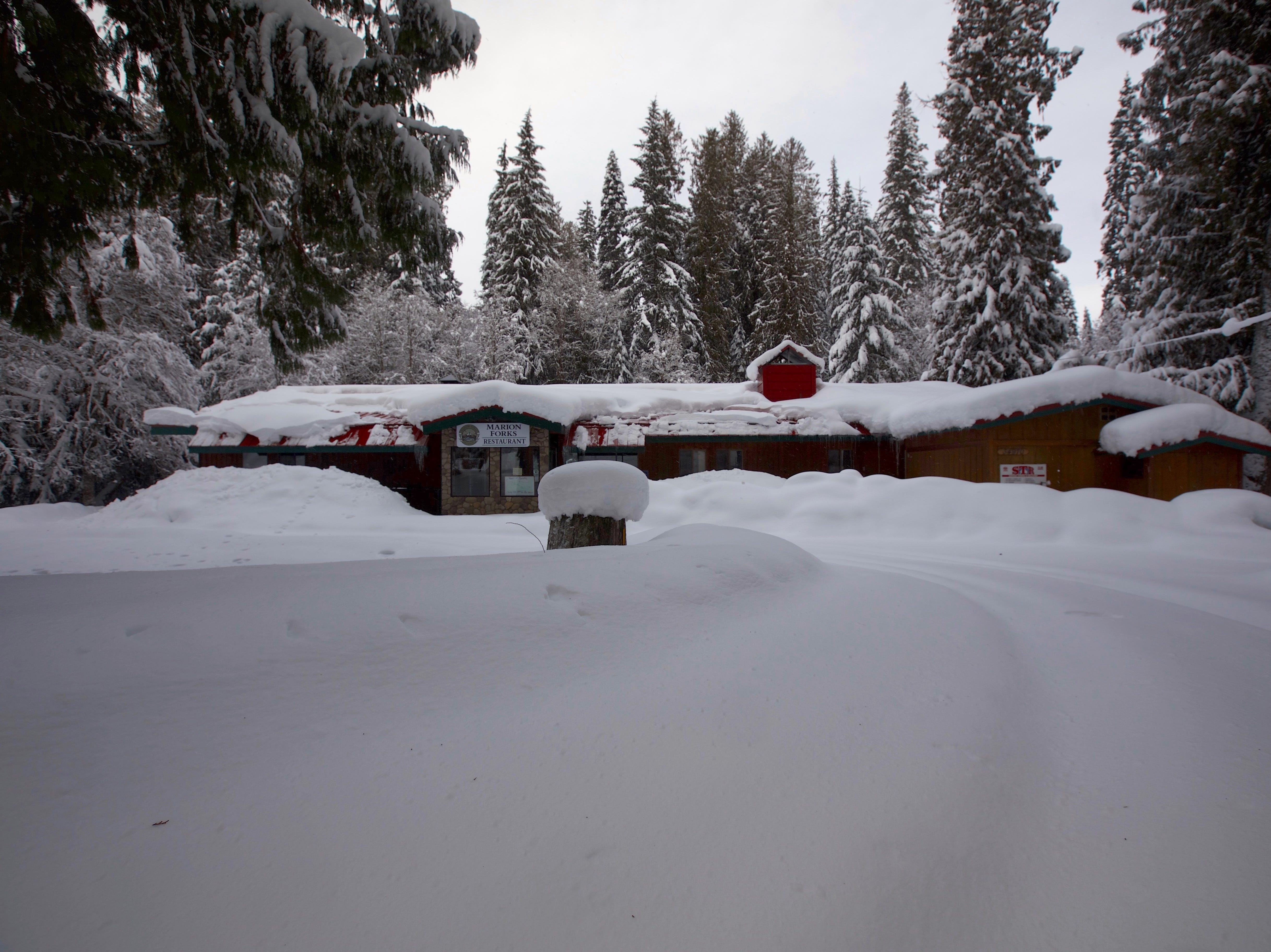 Marion Forks restaurant, now closed, covered in snow on Feb. 26, 2019.