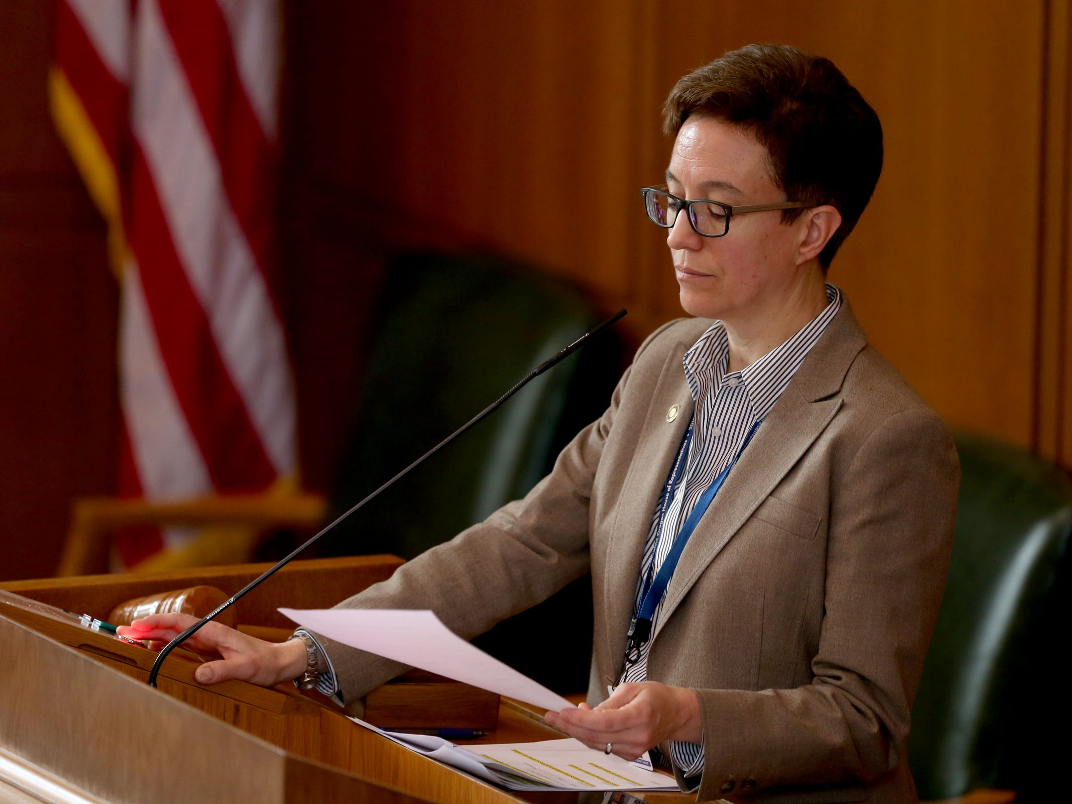 Speaker Tina Kotek, D-Portland, leads the House of Representatives as they prepare to vote on Senate Bill 608 at the Oregon State Capitol in Salem on Tuesday, Feb. 26, 2019. The House approved the rent control bill to end no-cause evictions for many tenants and cap rent increases across the state.