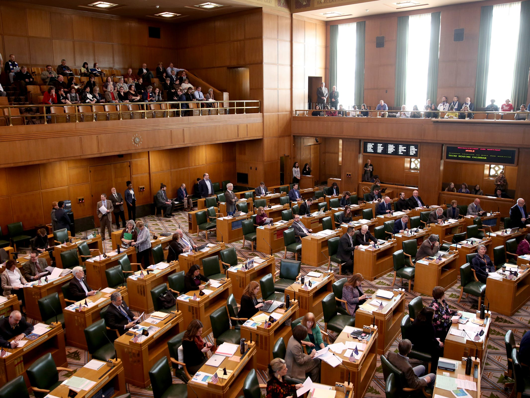 The House of Representatives prepares to vote on Senate Bill 608 at the Oregon State Capitol in Salem on Tuesday, Feb. 26, 2019. The House approved the rent control bill to end no-cause evictions for many tenants and cap rent increases across the state.