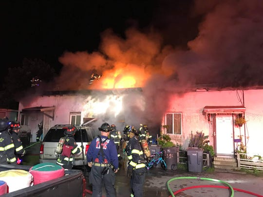 An East Salinas triplex caught fire early Monday morning.