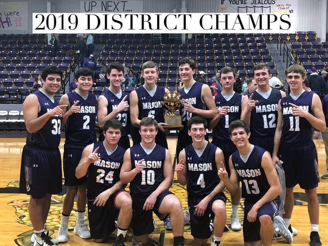The Mason boys won the District 27-2A championship. Ethan Powell (20) was named most valuable player.