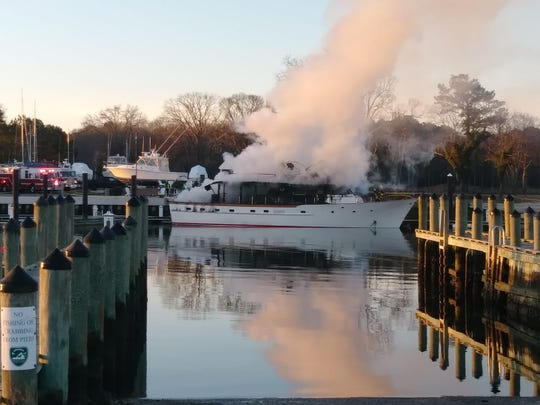 Firefighters from four stations were dispatched at 6:03 a.m. Tuesday, Feb. 26, 2019 to the Capes Charles Marina for a boat fire. Upon arriving, they found a 45-50 foot yacht was fully involved.