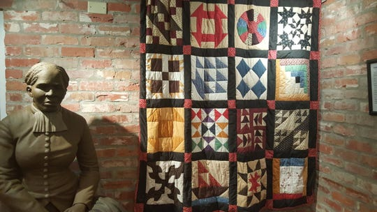 A statue of abolitionist Harriet Tubman and the Underground Railroad Quilt on display at Southern University Museum of Art in downtown Shreveport.