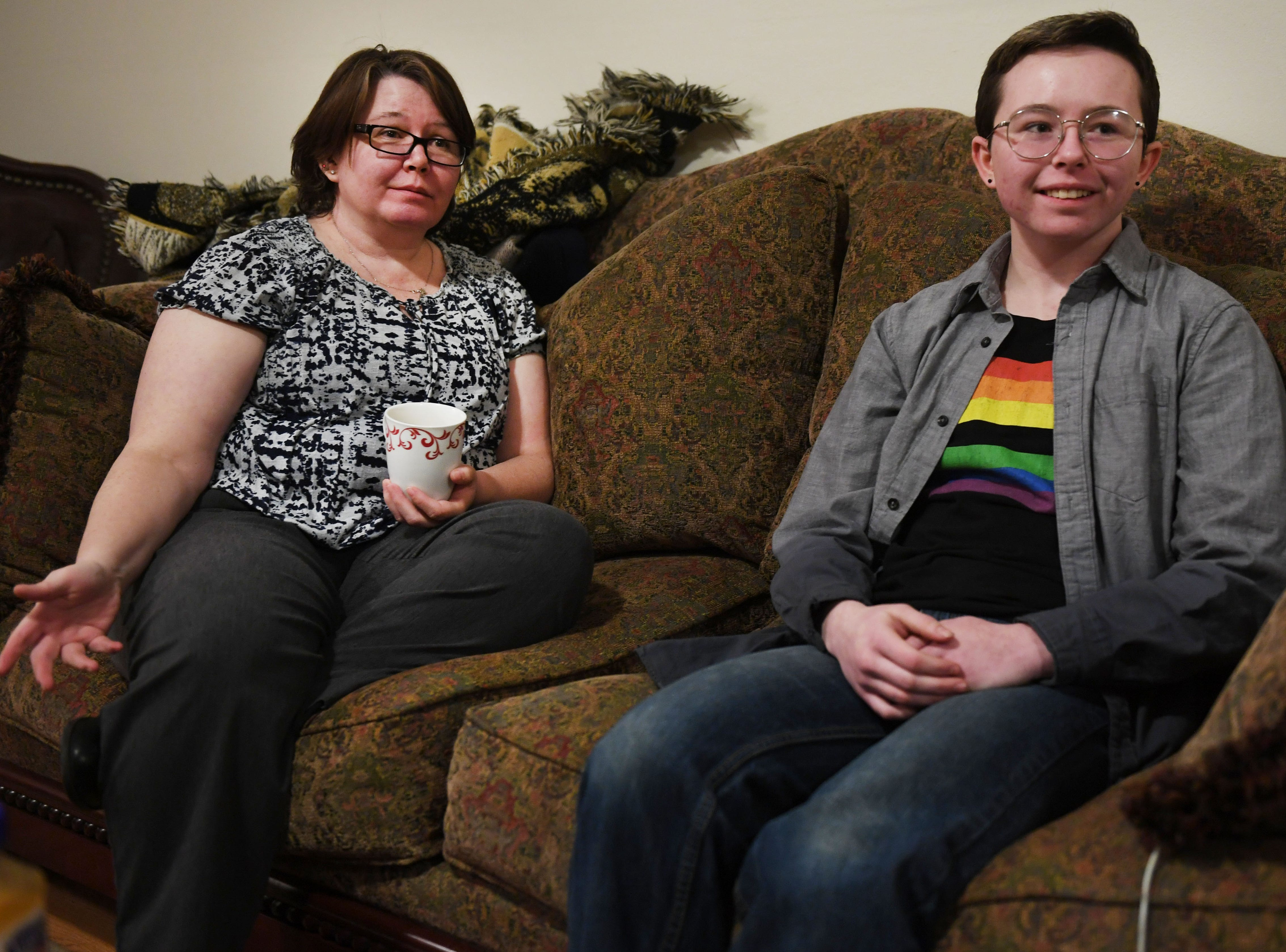 Jessica Martin and her son Oliver Dickman talk on Monday, Feb. 25, in  Yankton about Oliver's experience transitioning.