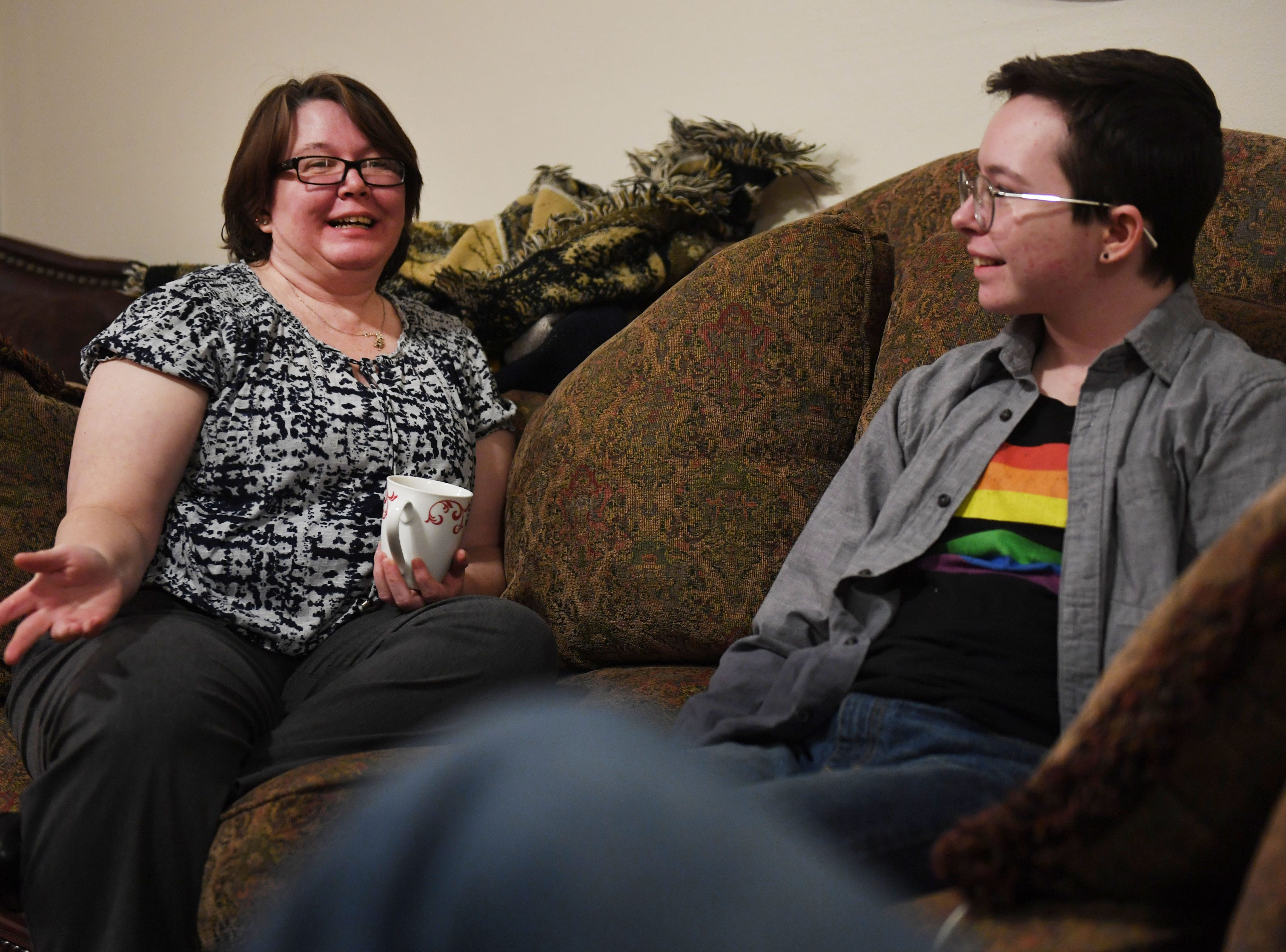 Jessica Martin and Oliver Dickman talk on Monday, Feb. 25, in Yankton about Oliver's experience transitioning.