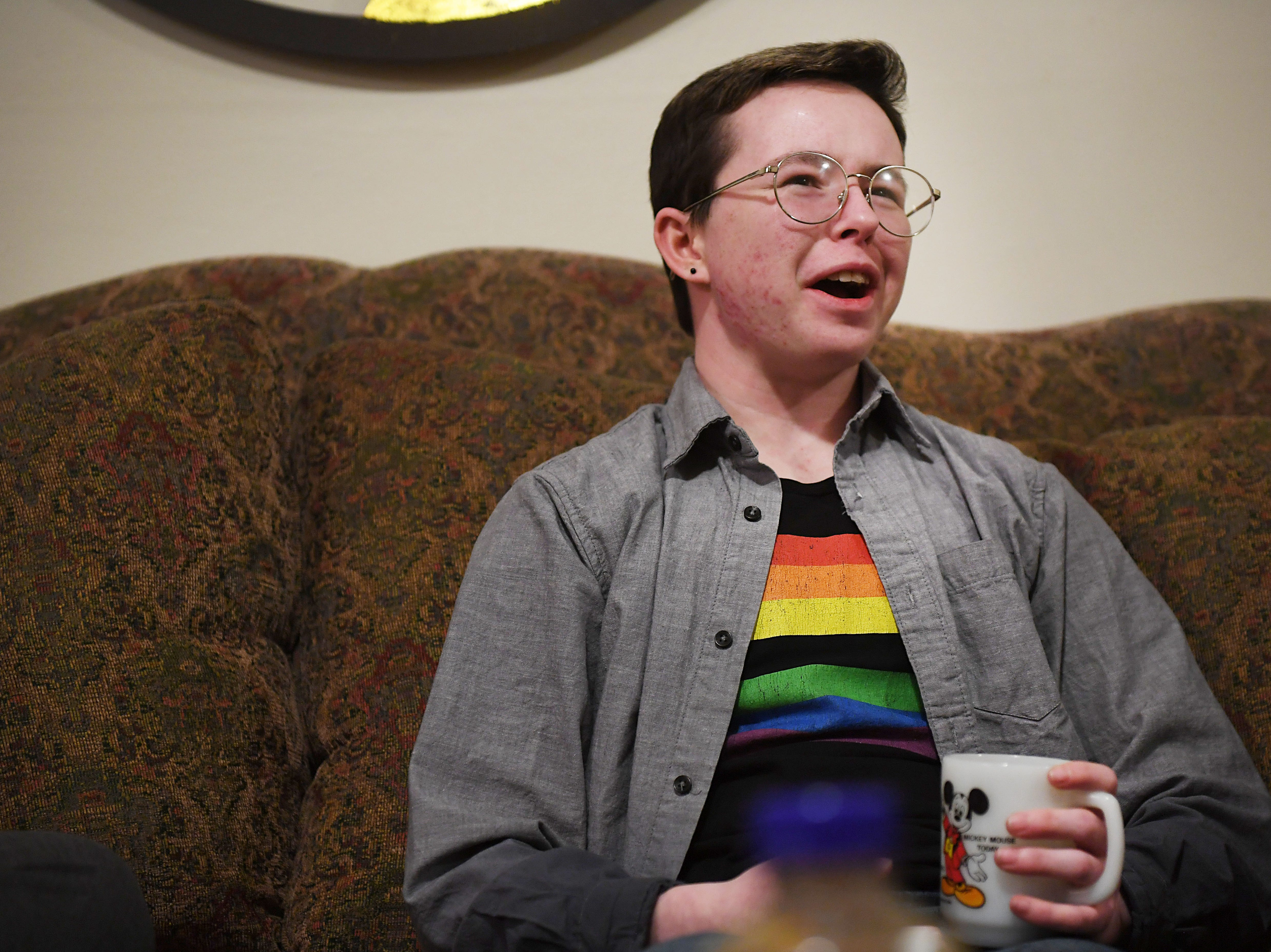 Oliver Dickman talks about the misconceptions people have about transgender people on Monday, Feb. 25, in Yankton.