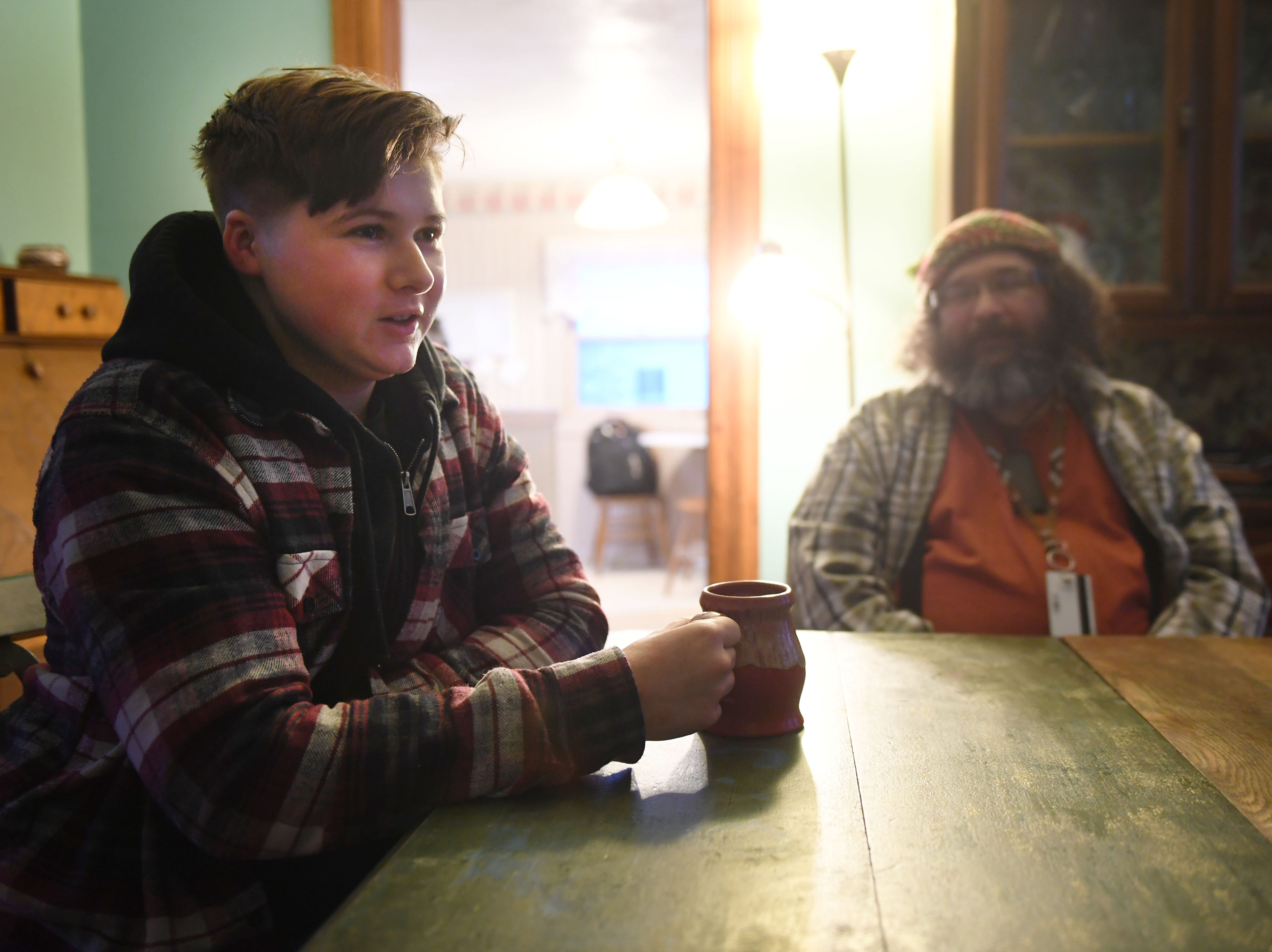Dylan Daniels and his father, Mark, talk on Monday, Feb. 25, in Vermillion about Dylan's experience transitioning.