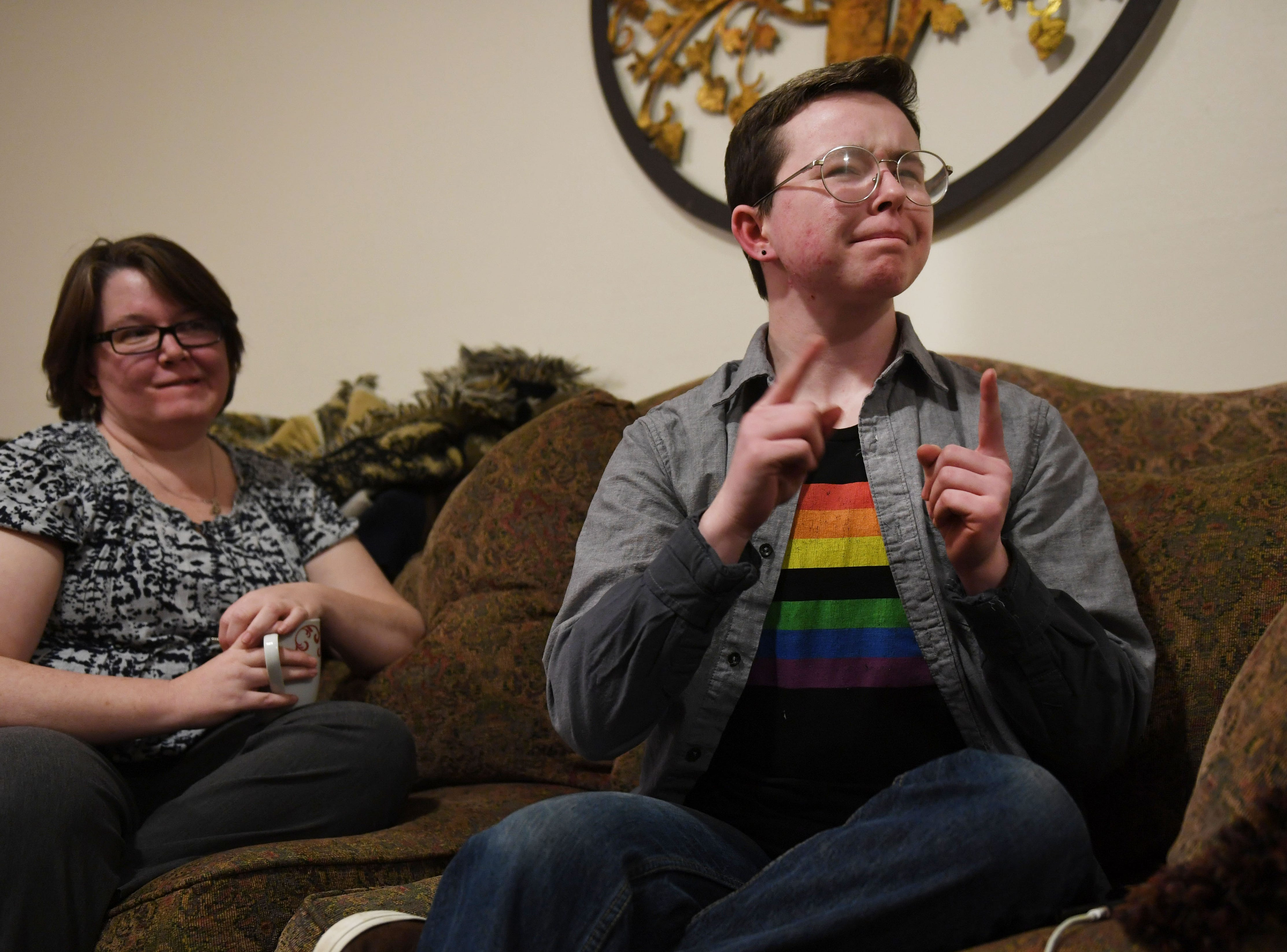 Oliver Dickman and his mom, Jessica Martin, talk on Monday, Feb. 25, in Yankton about the misconceptions people have about transgender people.