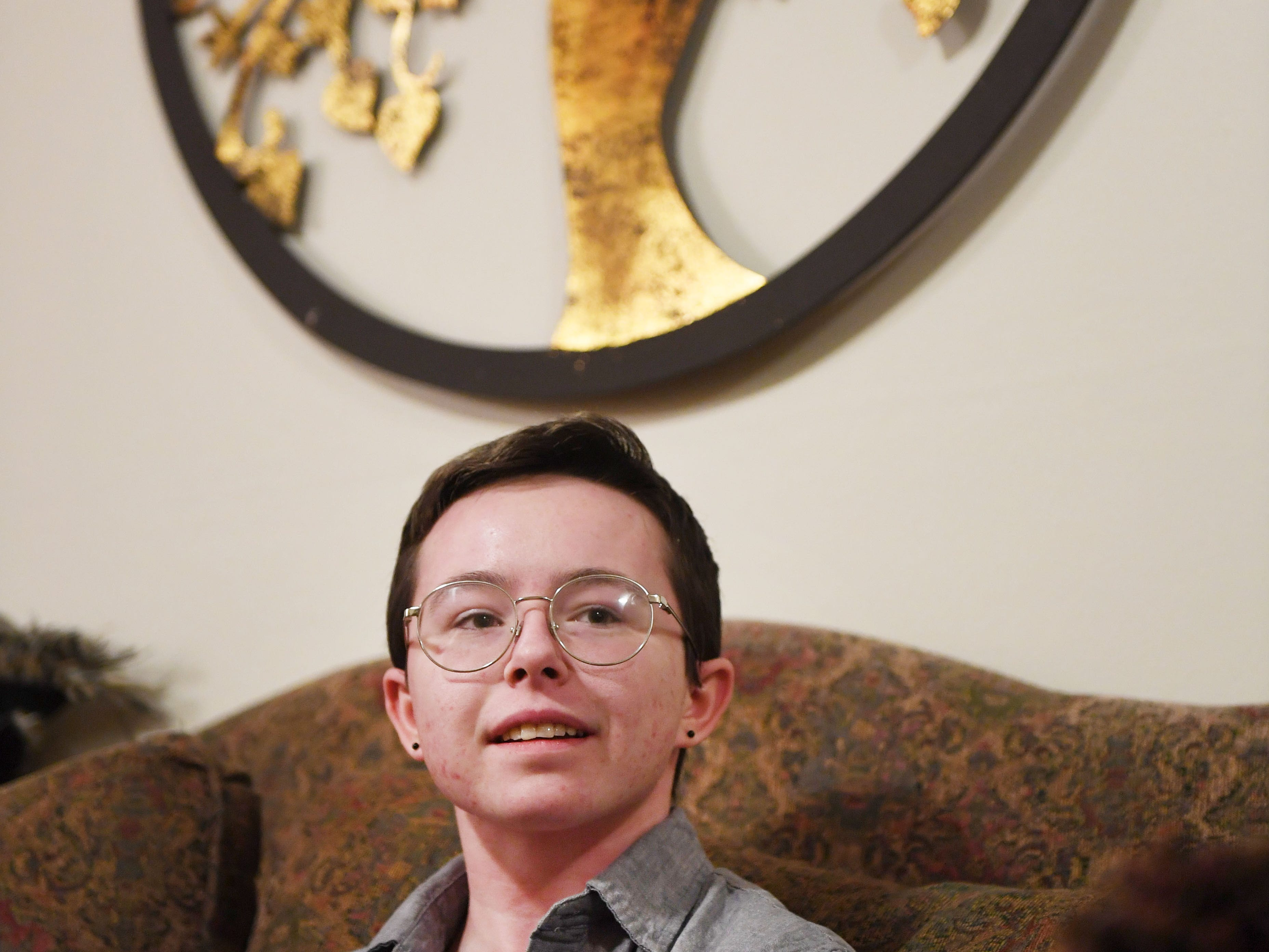 Oliver Dickman talks on Monday, Feb. 25, in Yankton about his experience transitioning.