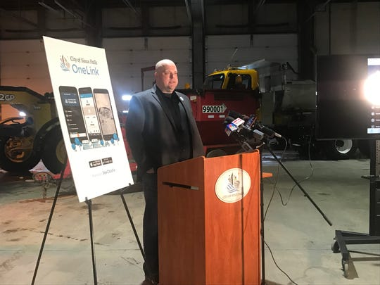Sioux Falls Innovation and Technology Director Jason Reisdorfer addressed the media from inside the city's street division headquarters where the app OneLink was formally unveiled Tuesday morning.