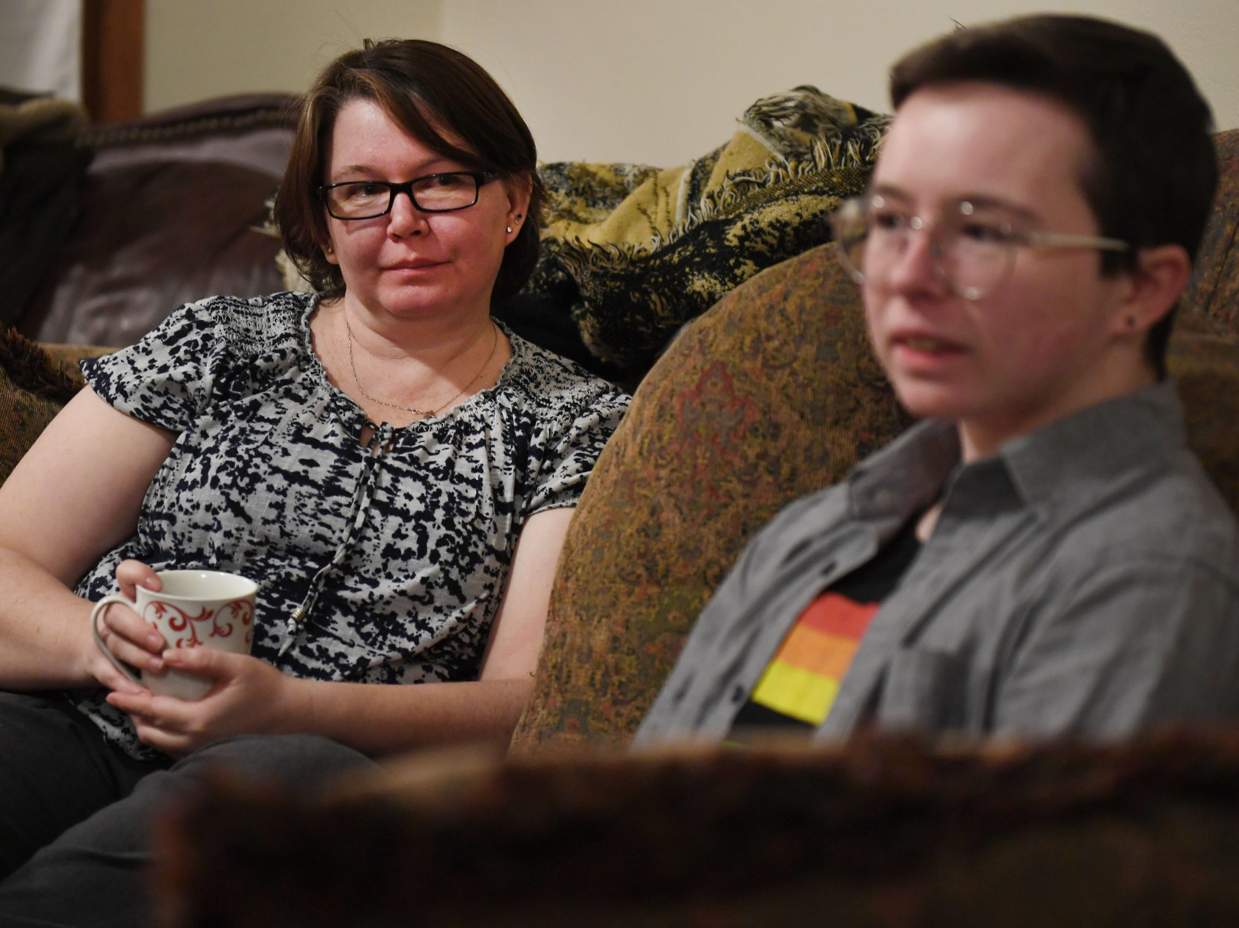Oliver Dickman and his mom, Jessica Martin, talk on Monday, Feb. 25, in Yankton about Oliver's experience transitioning.
