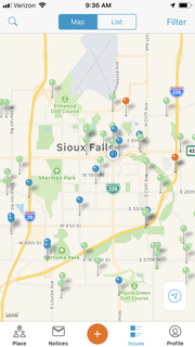 OneLink, a new app the city of Sioux Falls launched this month, lets users report locations of potholes and other nuisance concerns via their cellphones.
