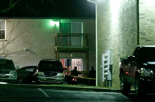 Springfield police investigate the scene of an officer-involved shooting Monday night.