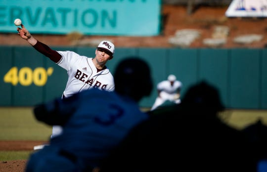 Missouri State Bears starting pitcher Forrest Barnes delivers a pitch to the plate during a game against the Central Arkansas Bears at Hammons Field on Tuesday, Feb. 26, 2019.