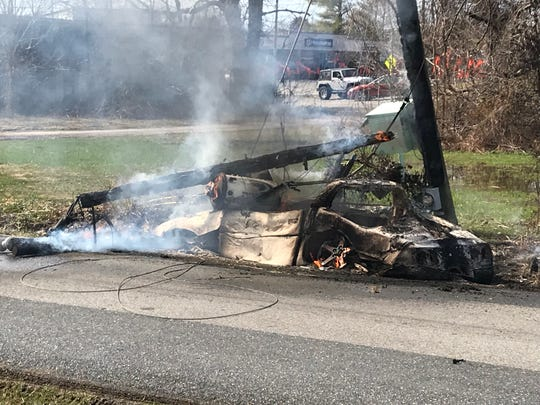 A car hit a pole and then caught on fire Tuesday morning in Stuarts Draft.