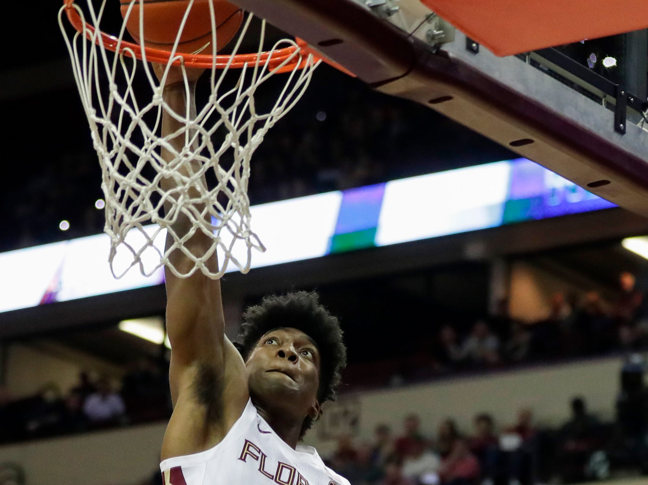 Florida State Seminoles guard Terance Mann (14) dunks during a game between FSU and Notre Dame at the Donald L. Tucker Civic Center Monday, Feb. 25, 2019.