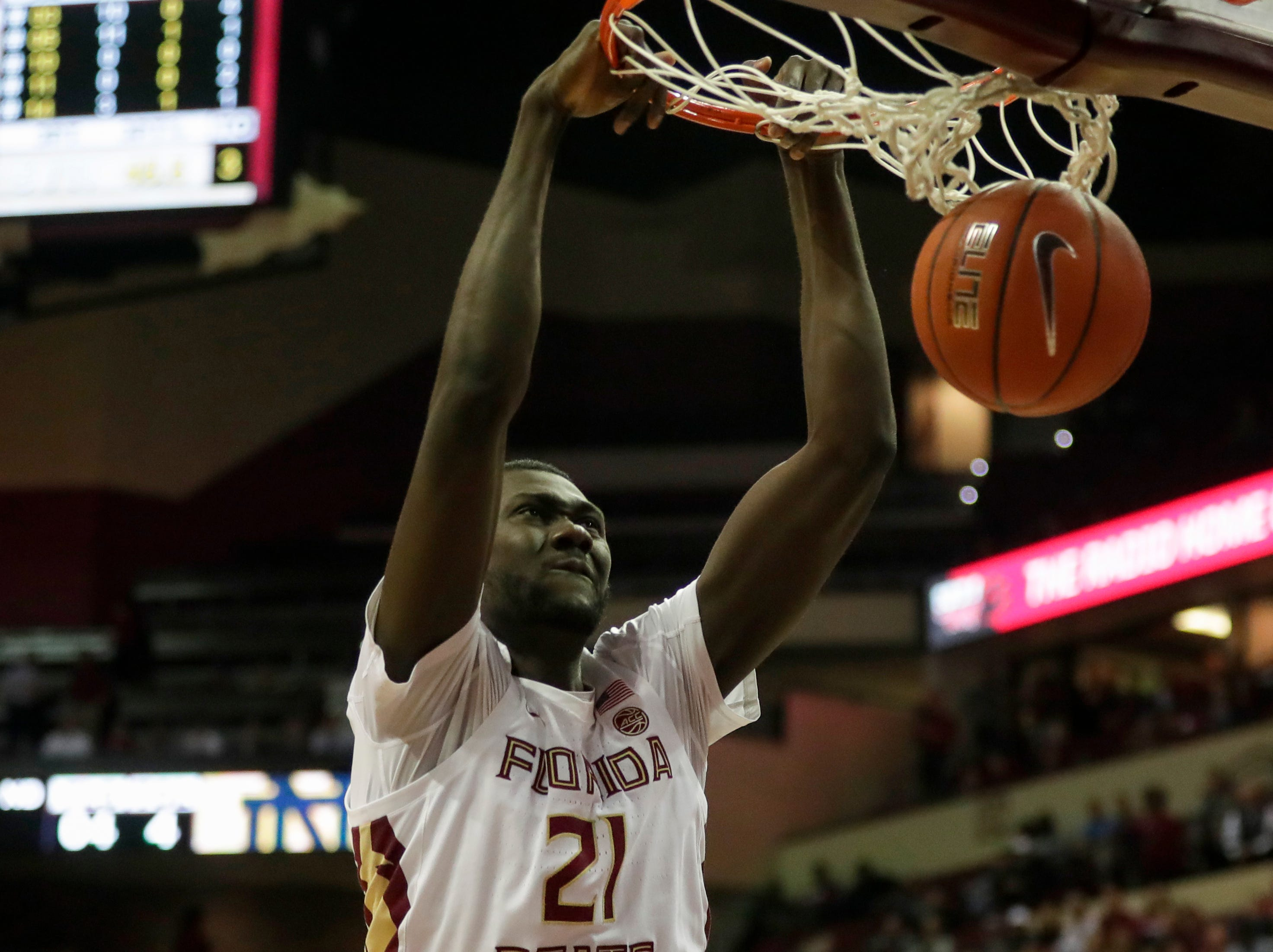 Florida State Seminoles center Christ Koumadje (21) dunks during a game between FSU and Notre Dame University at the Donald L. Tucker Civic Center Monday, Feb. 25, 2019.