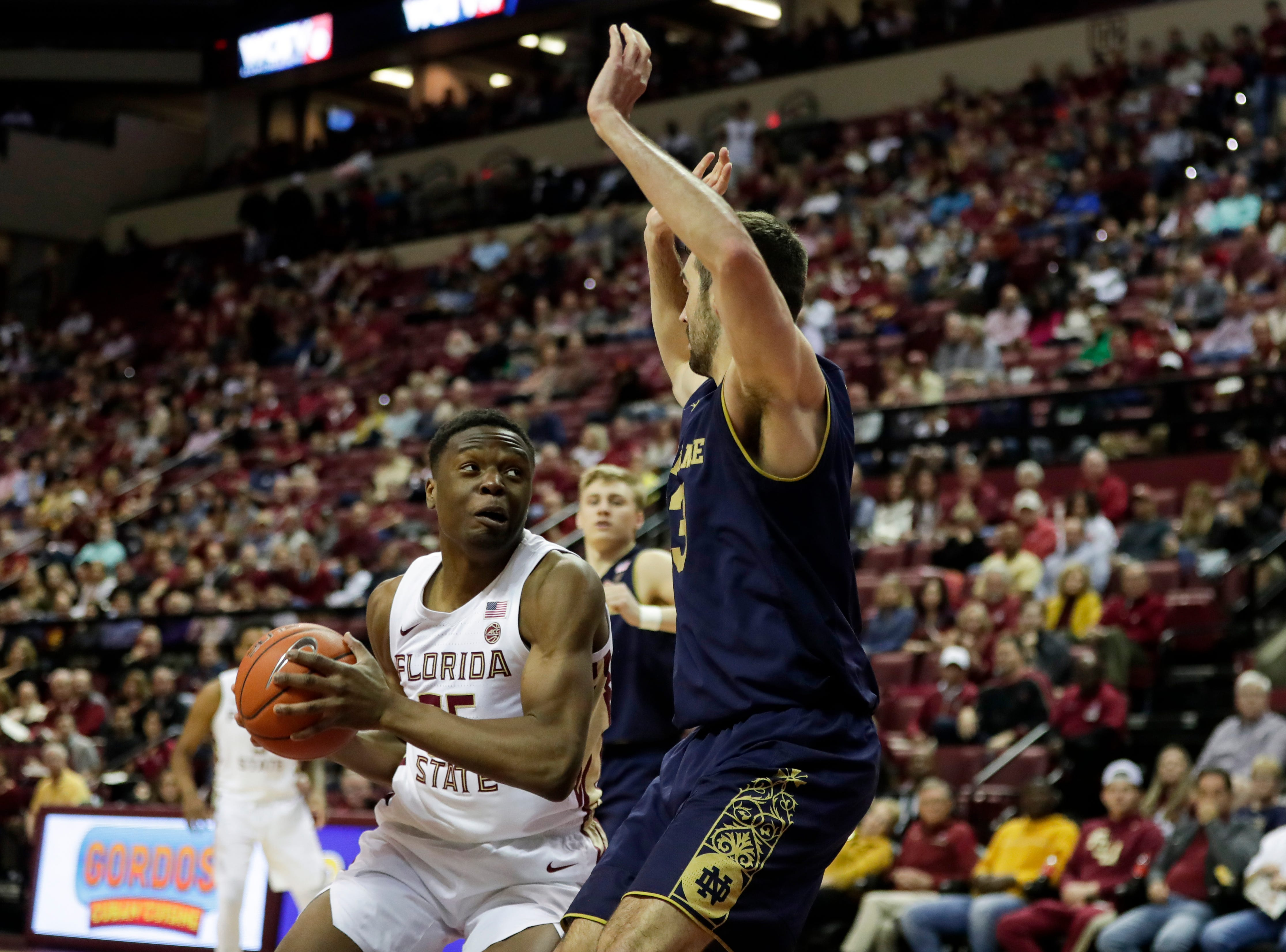 Florida State Seminoles forward Mfiondu Kabengele (25) goes up against a defender during a game between FSU and Notre Dame at the Donald L. Tucker Civic Center Monday, Feb. 25, 2019.