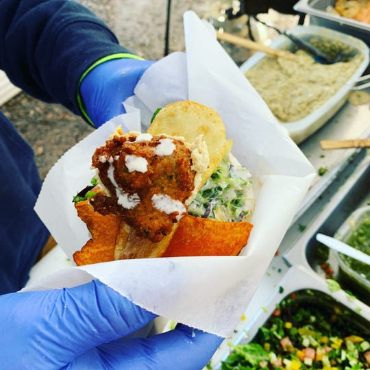 Falafel are made on the premises from ground chickpeas.