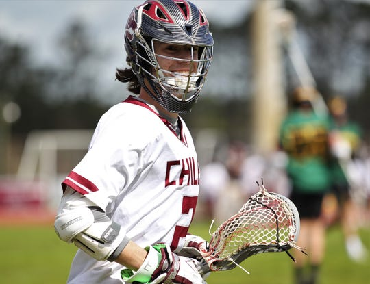 Chiles' Matt Congdon smiles for the camera as the Timberwolves' lacrosse team beat Pensacola Catholic on Feb. 23, 2019.