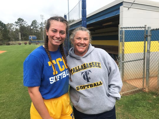 TCC freshman infielder Katelyn Hobbs (left) poses with softball coach Patti Townsend between hitting drills at practice.