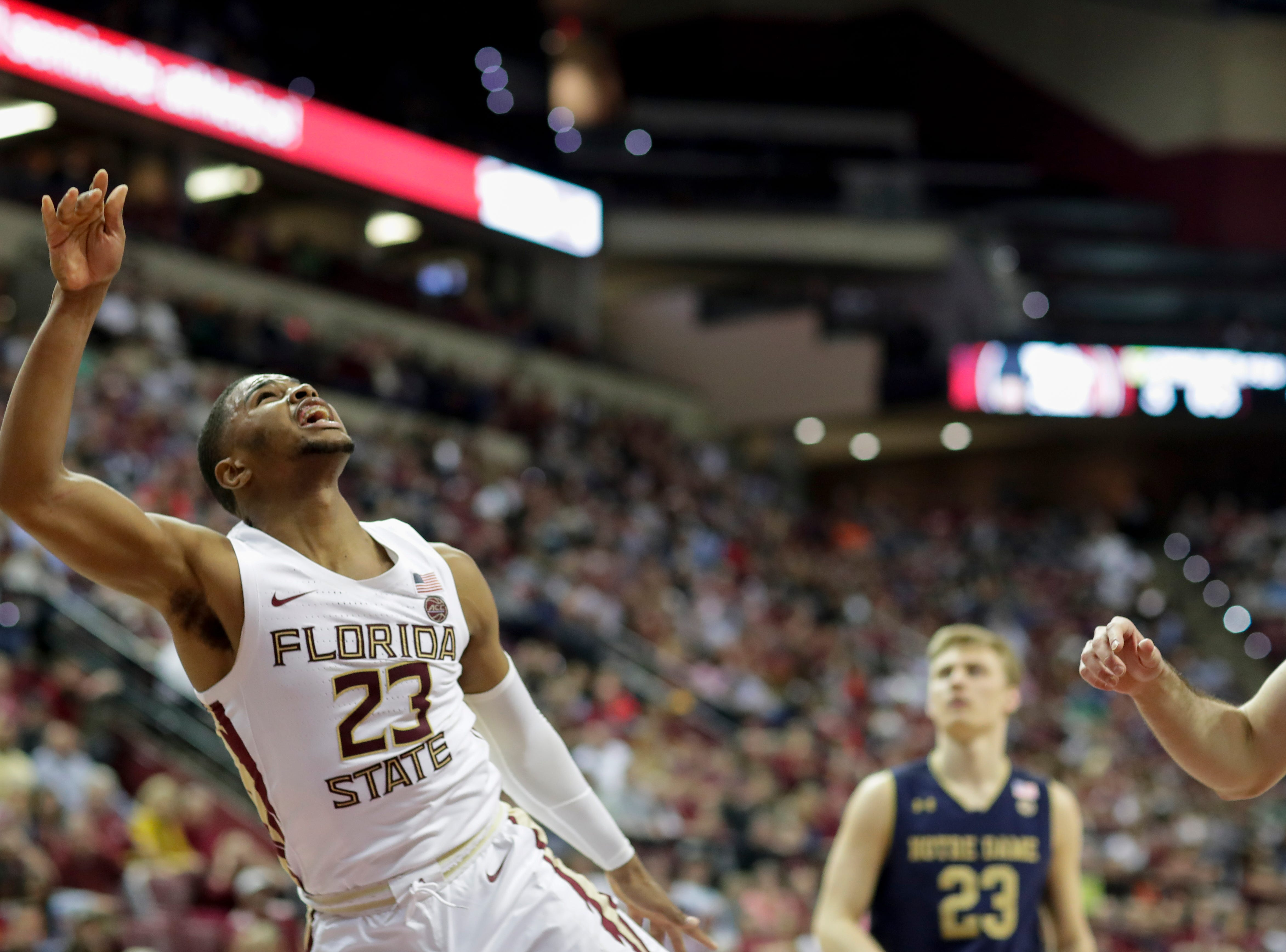 Florida State Seminoles guard M.J. Walker (23) watches his shot during a game between FSU and Notre Dame at the Donald L. Tucker Civic Center Monday, Feb. 25, 2019.