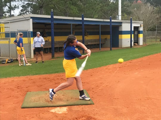 TCC freshman Katelyn Hobbs levels her swing during batting practice on Tuesday, Feb. 26, 2019. She ranks second on the team in hitting with a .314 average.