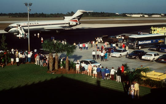 The Los Angeles Dodgers used to fly into Vero Beach Municipal Airport which signaled the start of spring training at Dodgertown. This is the plane that brought the players in for spring training in February, 1993.
