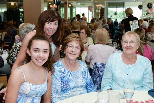 Ashley and Christina Haufler, left, Doris Kilayko and Ginny Tezis at the St. Lucie West Garden Club luncheon and fashion show.