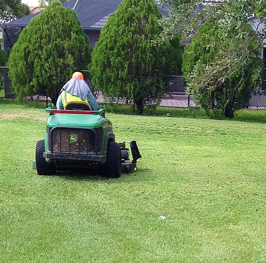 Even when mowing the lawn, remember to be safe