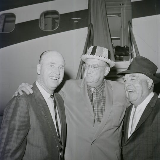 Manger Walter Alston (from left), Dodgers' owner Walter O'Malley and Bud Holman are shown at the Vero Beach Airport in 1964.