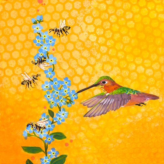 "Sunshine, Wings, Honey – mixed media on board – by Lisa Skyheart Marshall is one of the works for the ""Sky's No Limit for Ventura"" gallery show in downtown Ventura."