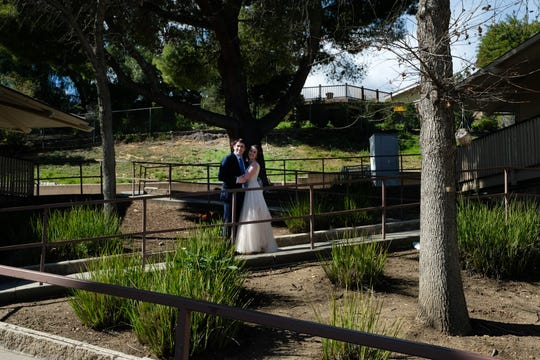 "Amy and Jordan Avnet pose on the ""zig zag"" at Madrona School in Thousand Oaks where they were married over President's Day weekend."