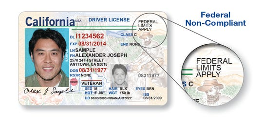 "New California driver's licenses that are not REAL ID have the phrase ""FEDERAL LIMITS APPLY"" on the front of the card. You will NOT be able to use it to board domestic flights or enter secure federal facilities that require identification –such as military bases- STARTING October 1, 2020."