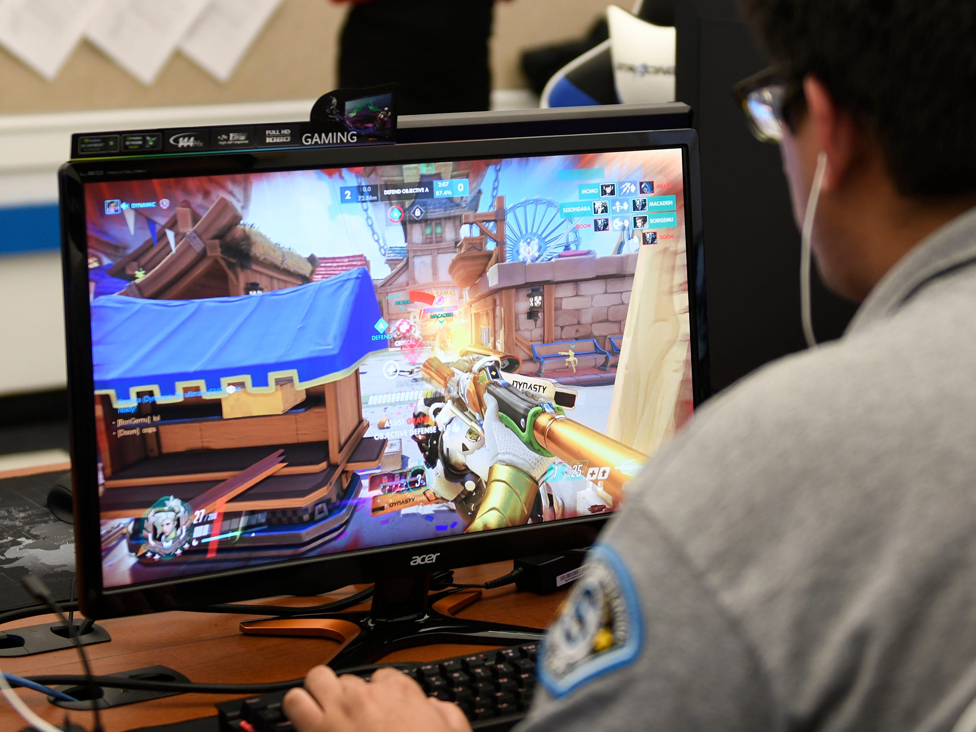 Stockton students hone their gaming skills in the university's new Esports facility on Tuesday, Feb. 26, 2019. The new room boasts 15 state-of-the-art machines designed for competitive teams to play Fortnite, Overwatch, League of Legends, and Smash Brothers Ultimate as part of the Eastern College Athletic Conference.